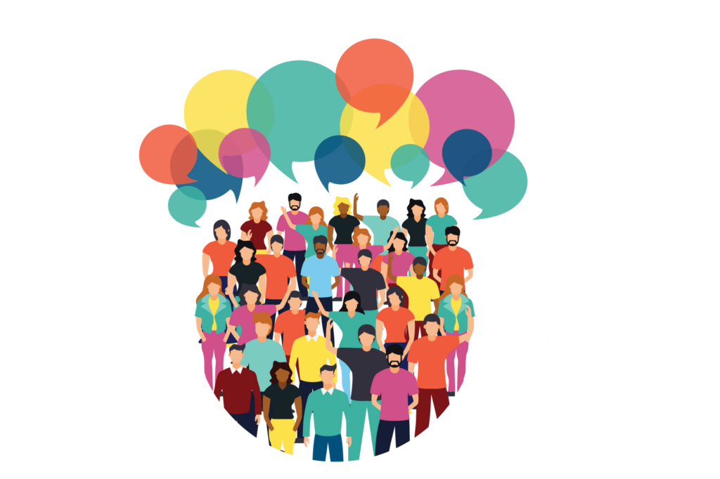 vector image of a diverse group of people talking