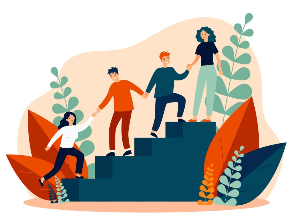 vector image of people helping each other up the stairs